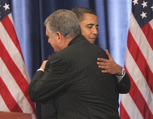 President-elect Barack Obama hugs Secretary of Transportation-designate Rep. Ray LaHood at a news conference in Chicago Friday.