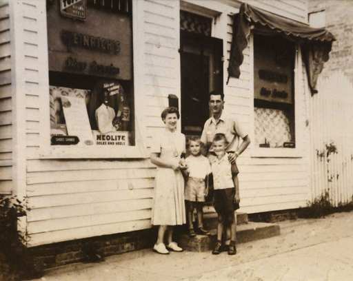 The Weinrich family: Ruth; Carl; and their sons Dave and Charles at the store on north Dunton in Arlington Heights.