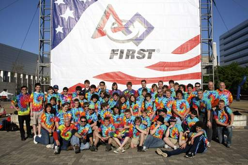 This is a group shot of the Rolling Meadows WildStangs robotics team that took first at the FIRST Robotics Competition in Atlanta.