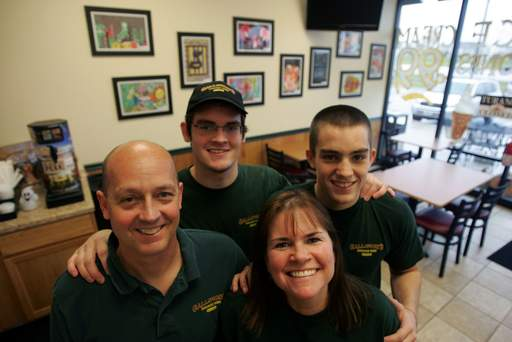 T.J. and Judy Galloway, front, with their sons T.J., back left, and Cory, back right, are the owners of Galloway's Chicago Subs on Randall Road in Crystal Lake.