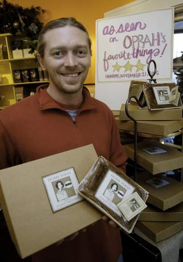 Matt Lennert, owner of Moveable Feast in Geneva, with his Deeply Fudgey Brownies that Oprah featured on her