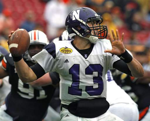 Northwestern quarterback Mike Kafka completed 47 of 78 passes for 532 yards and 4 TDs on Friday against Auburn, although he was intercepted five times.