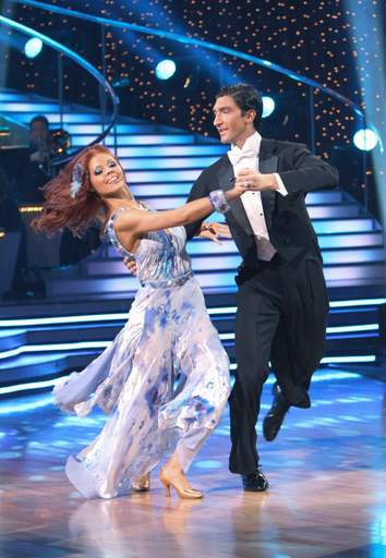 Evan Lysacek dances with his partner, Anna Trebunskaya, during Monday's episode of
