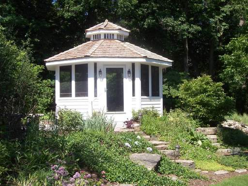 Archadeck build this gazebo, from which homeowners can enjoy their yard.