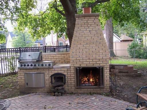 Built-in grills and backyard fireplaces are once again growing in popularity as homeowners update their landscaping.