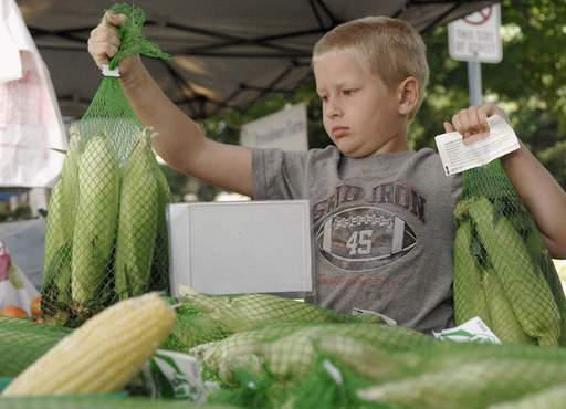 Stephen Book, 8, of Providence Farm in Belvidere, replenishes the stock of Mirai corn they have for sale at the St. Charles Farmers Market on Friday, August 27. Stephen helps his father, Randy, stock and sell the family vegetables.