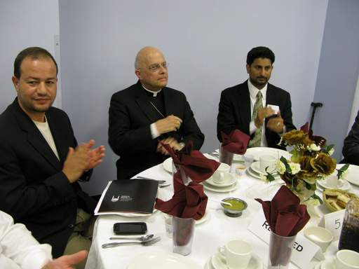 From left, Zaher Sahloul, chairman of the Council of Islamic Organizations of Greater Chicago, Francis Cardinal George, and Azam Nizamuddin, a Des Plaines attorney and adjunct professor of Islam at Loyola University.