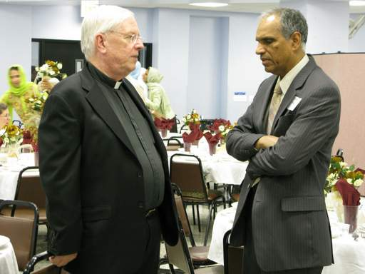 The Rev. Ray Webb of the Mundelein Seminary and Shakir Moiduddin, chairman of the interfaith committee of the Council of Islamic Organizations of Greater Chicago.