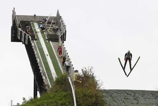 Christian Friberg of the St. Paul Ski Club rockets off the jump as ski jumpers from around the U.S. and Canada compete for the title of Norge Ski Jump Champion in Fox River Grove.