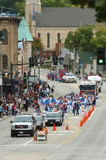 The Dundee-Crown High School homecoming parade makes its way west on Main Street Sunday afternoon.