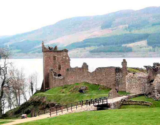 Urquhart castle perches beside Loch Ness in the Scottish Highlands, and setting for